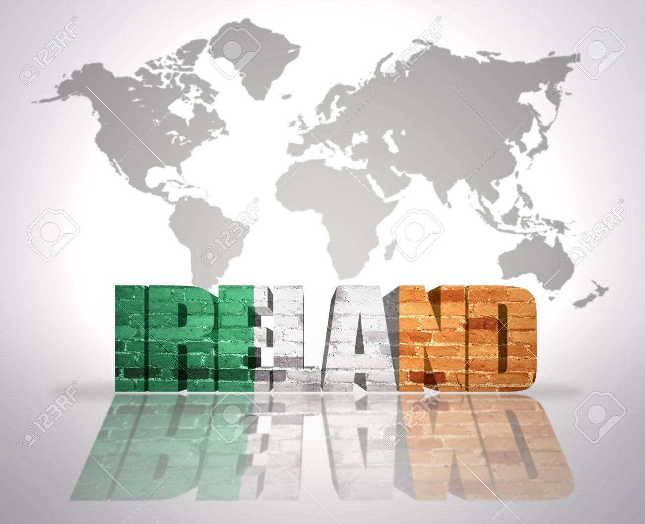 Word Ireland With Irish Flag On A World Map Background Stock Photo ...