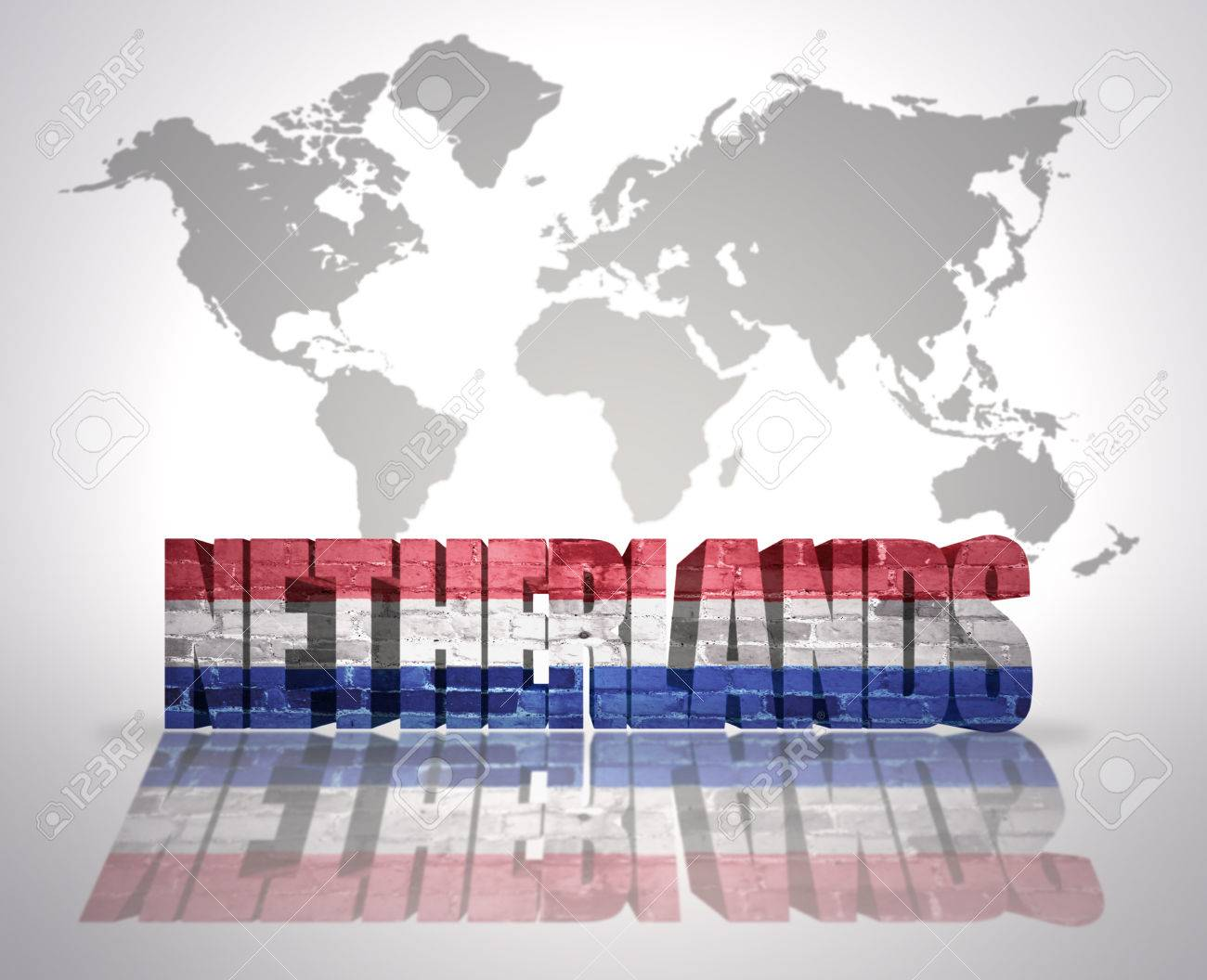 Word netherlands with dutch flag on a world map background stock stock photo word netherlands with dutch flag on a world map background gumiabroncs Images