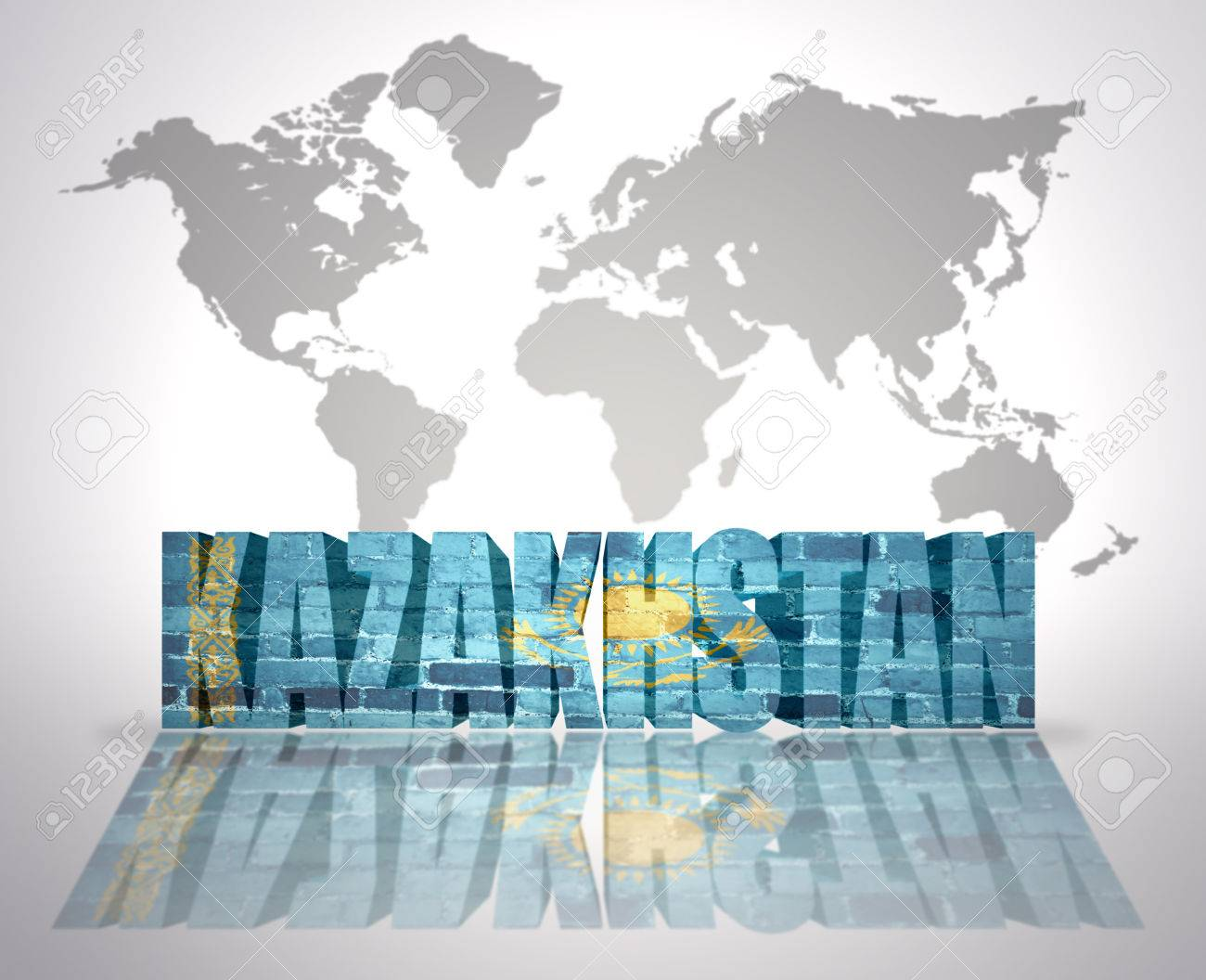 Word kazakhstan with kazakh flag on a world map background stock word kazakhstan with kazakh flag on a world map background stock photo 33929295 gumiabroncs Images