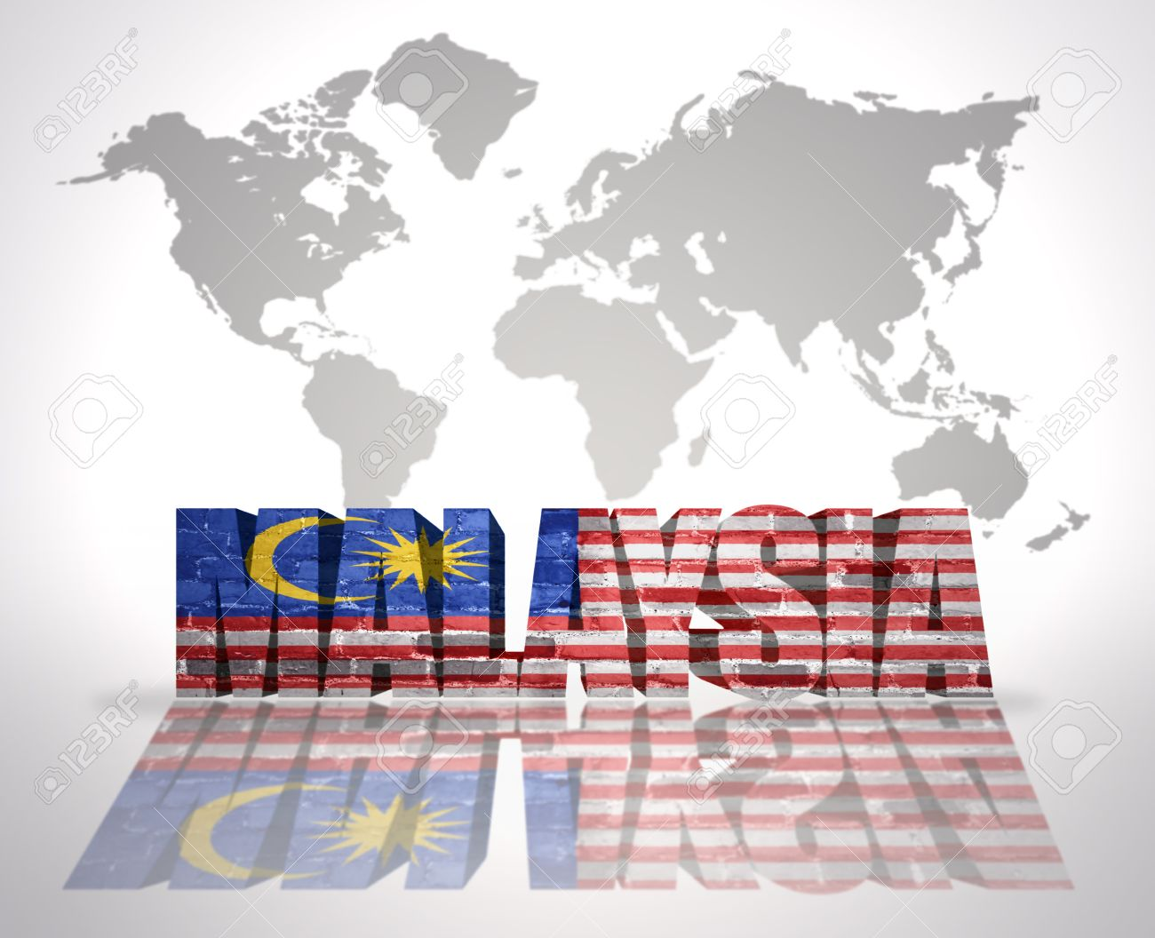Word malaysia with malaysian flag on a world map background stock stock photo word malaysia with malaysian flag on a world map background gumiabroncs Choice Image