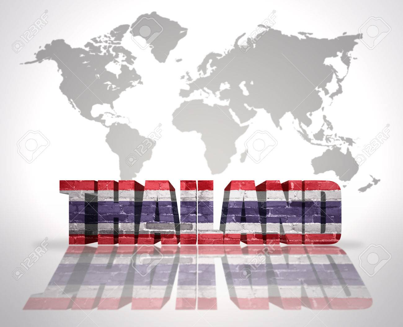 Word thailand with thai flag on a world map background stock photo stock photo word thailand with thai flag on a world map background gumiabroncs Image collections