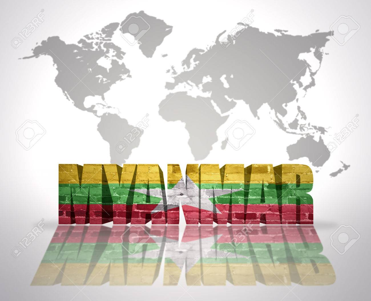 Word myanmar with myanmar flag on a world map background stock word myanmar with myanmar flag on a world map background stock photo 34208041 gumiabroncs Images