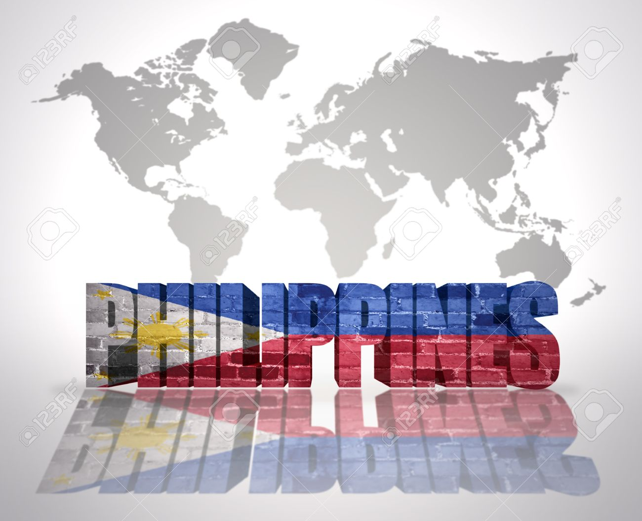 Word philippines with philippine flag on a world map background stock photo word philippines with philippine flag on a world map background gumiabroncs Images