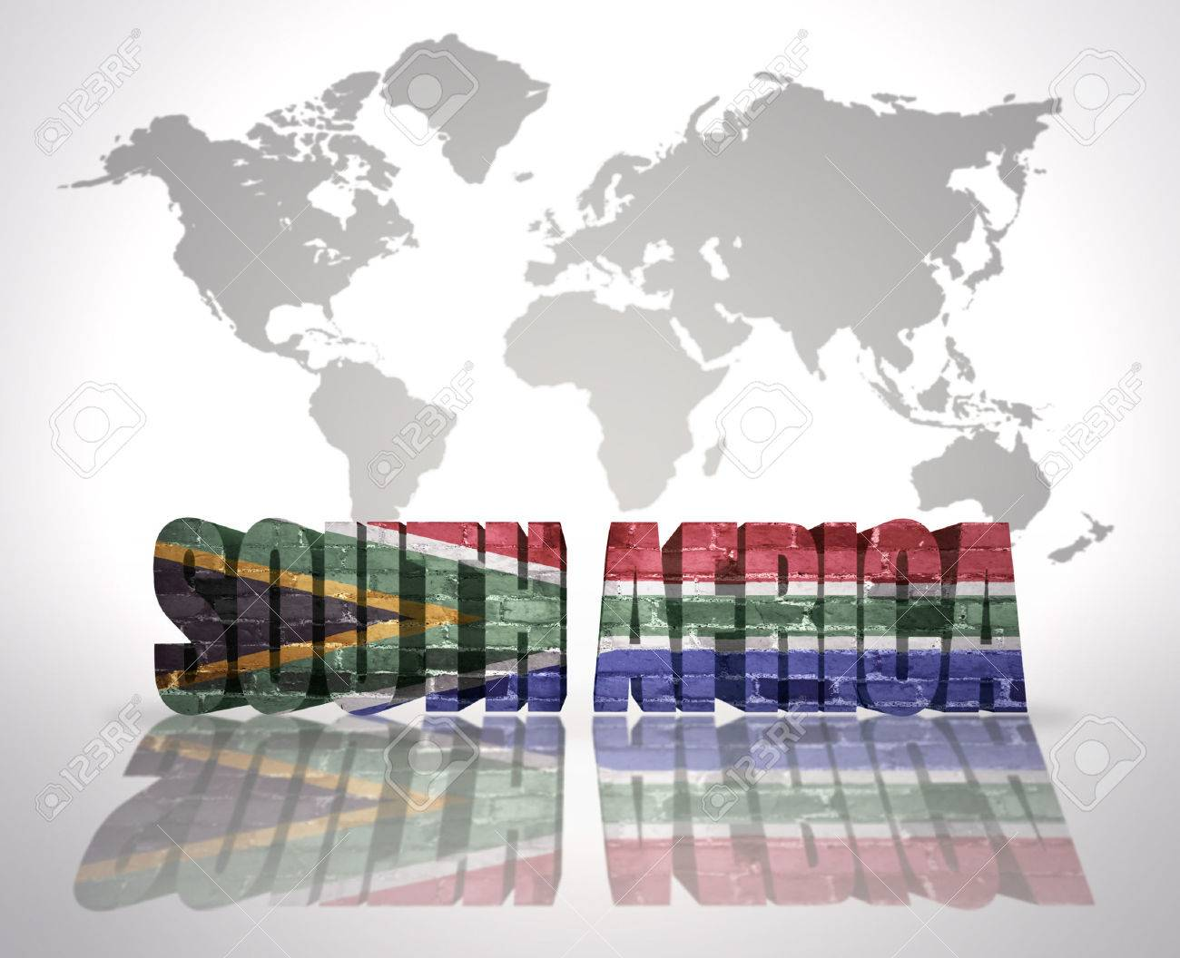 Word south africa with south africa flag on a world map background stock photo word south africa with south africa flag on a world map background gumiabroncs Choice Image