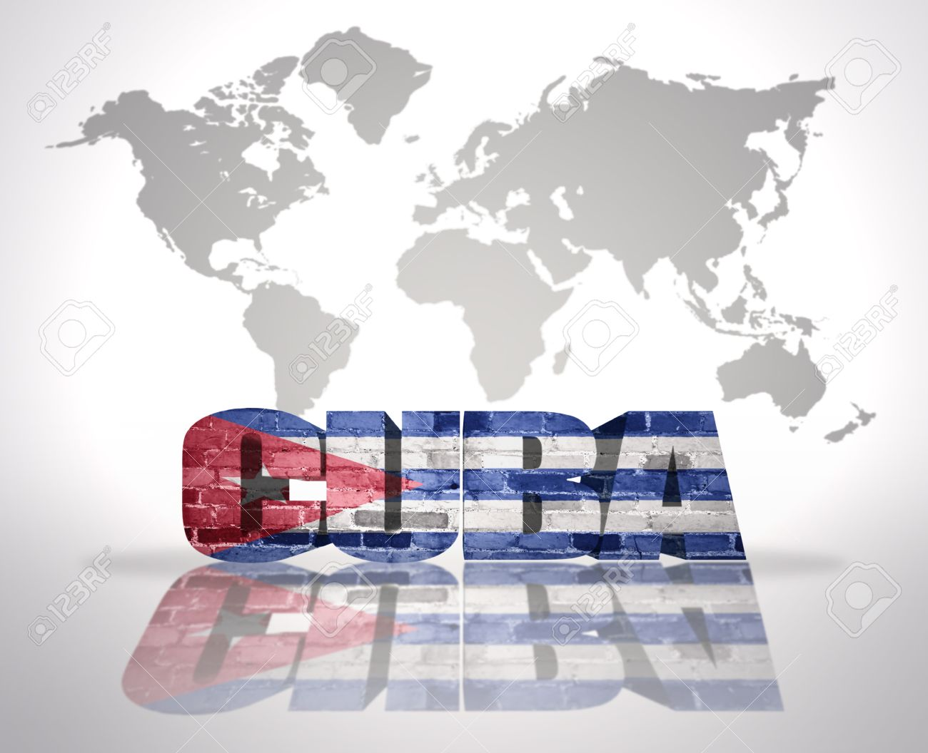 Word Cuba with Cuban Flag on a world map background