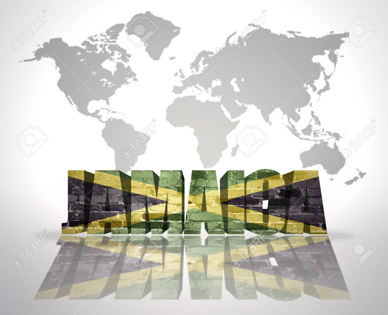 Jamaica On Map Of World.Word Jamaica With Jamaican Flag On A World Map Background Stock