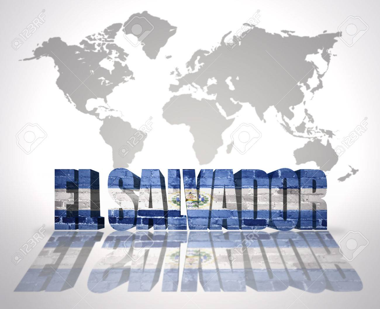 Word El Salvador With Salvador Flag On A World Map Background