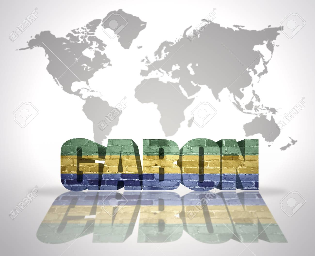 Gabon World Map.Word Gabon With Gabonese Flag On A World Map Background Stock Photo