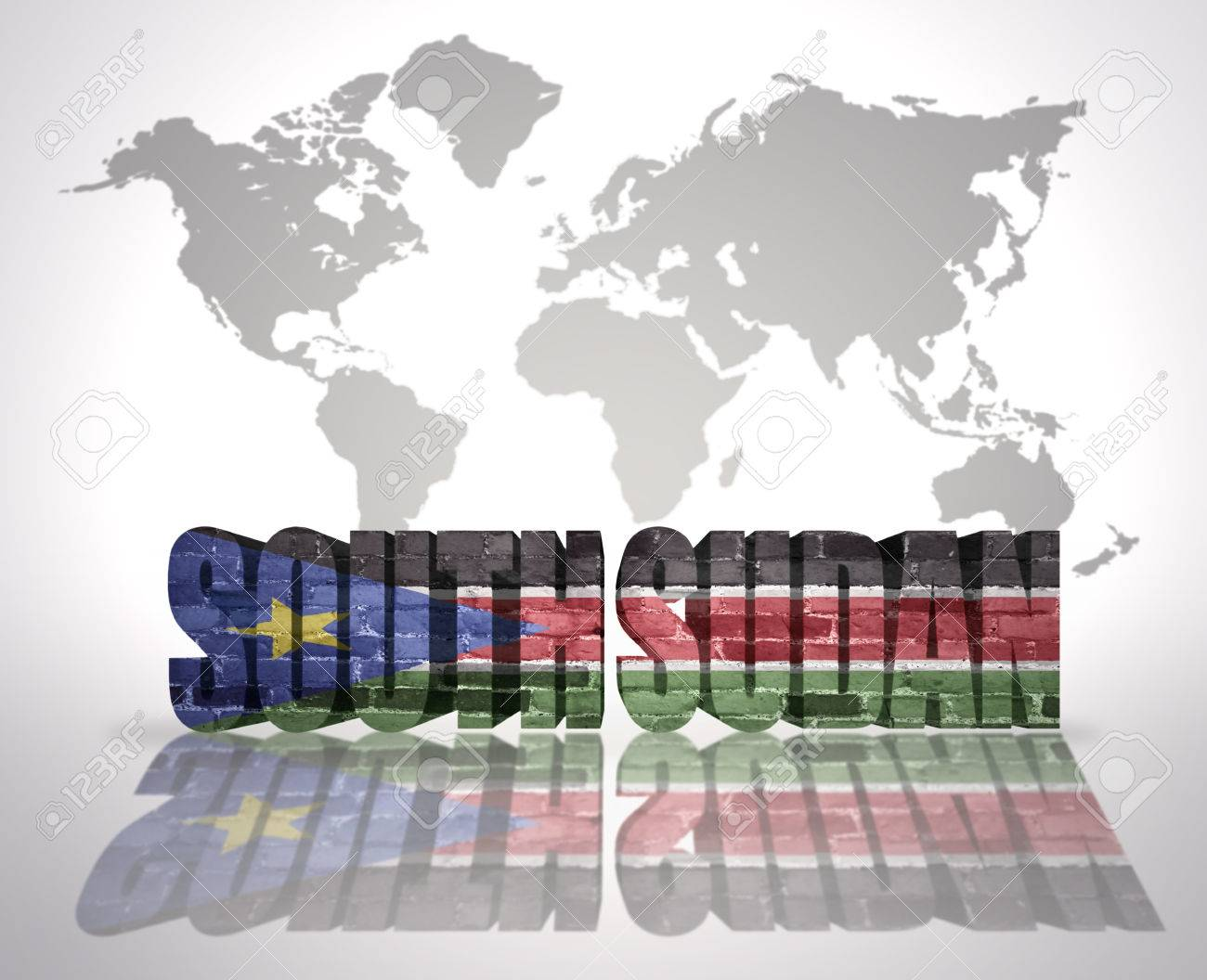 Word South Sudan With South Sudan Flag On A World Map Background