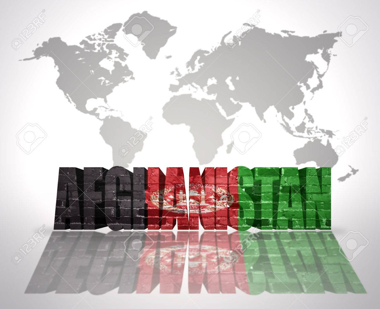 Word afghanistan with afghan flag on a world map background stock stock photo word afghanistan with afghan flag on a world map background gumiabroncs Choice Image