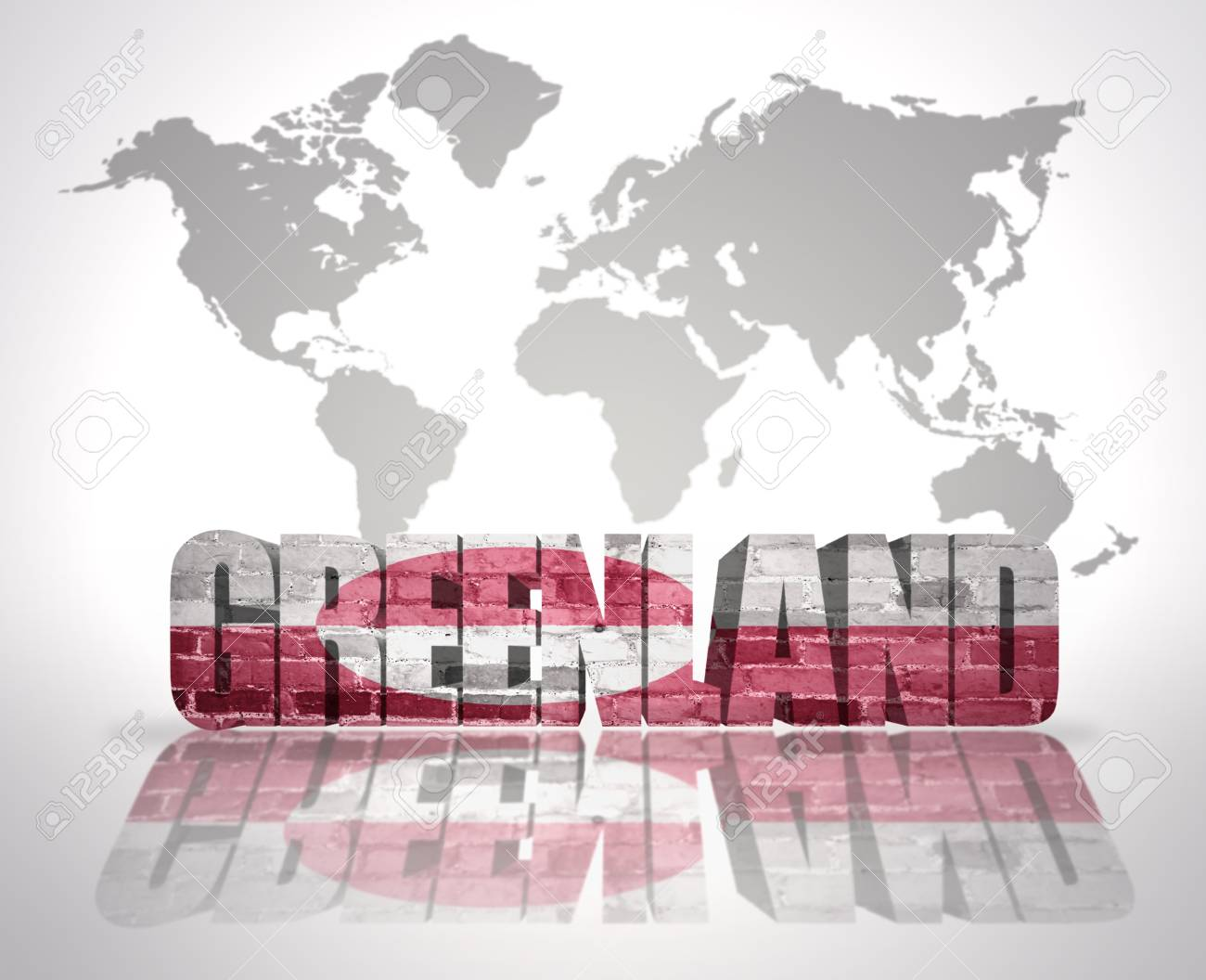 Word Greenland With Greenlandic Flag On A World Map Background Stock ...