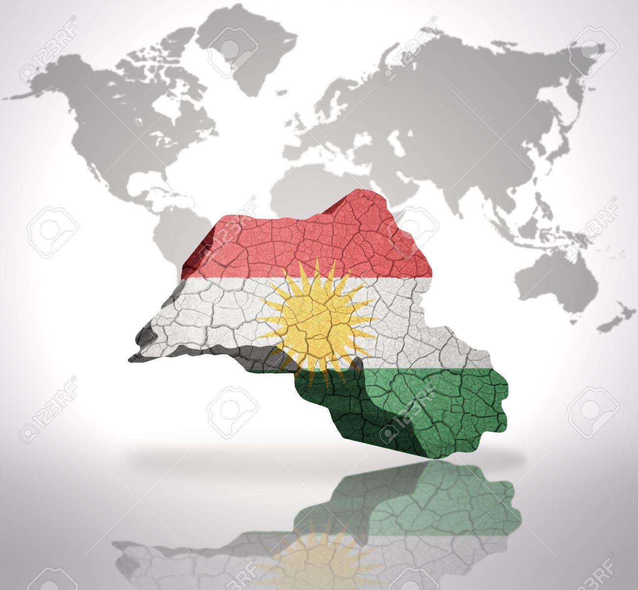 Map of kurdistan with kurdish flag on a world map background stock map of kurdistan with kurdish flag on a world map background stock photo 34872886 gumiabroncs Choice Image