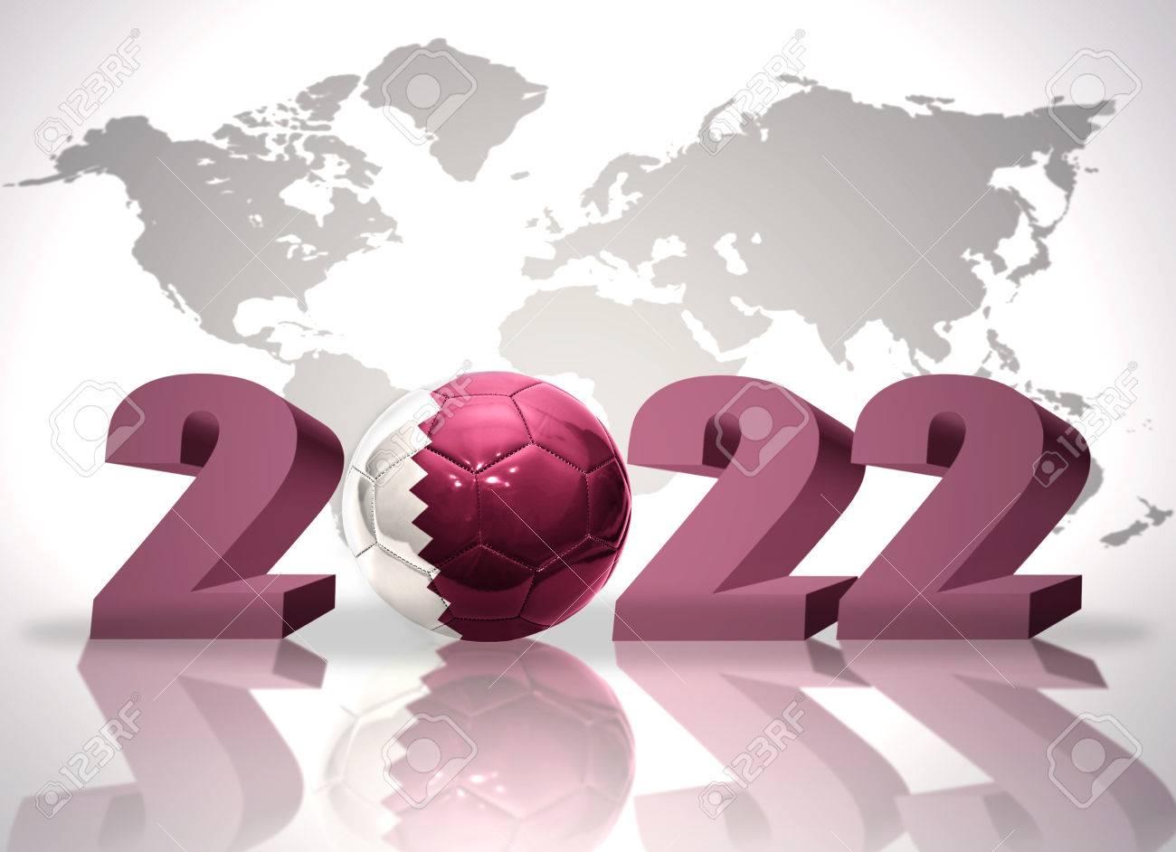 Carte Du Monde Qatar.Numero 2020 Et Ballon De Football Avec Le Drapeau National Du Qatar