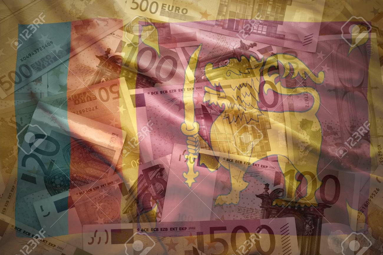 colorful waving sri lanka flag on a euro money background