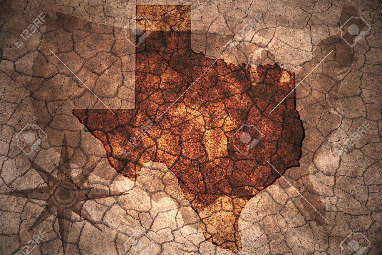 Texas State Map On Vintage Usa Map Crack Paper Background Stock - Usa map texas state