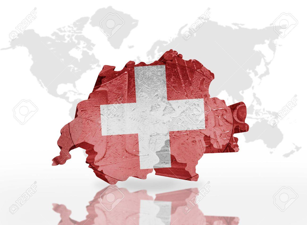 Map of switzerland on the euro coin texture with switzerland map of switzerland on the euro coin texture with switzerland flag on the a world map gumiabroncs Images