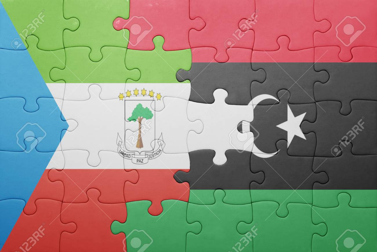 Puzzle With The National Flag Of Equatorial Guinea And Libya
