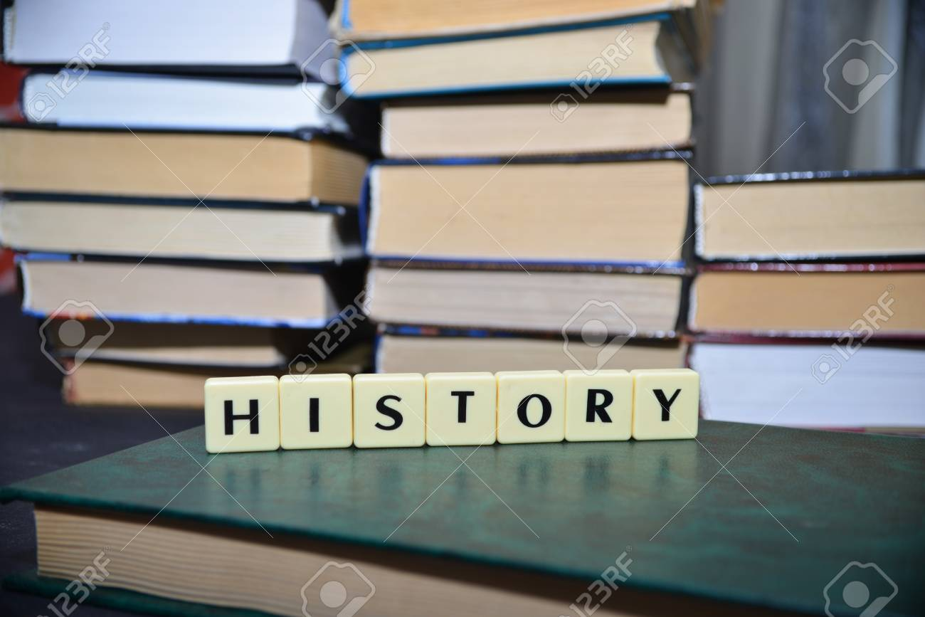 word history near the pile of books education concept stock photo