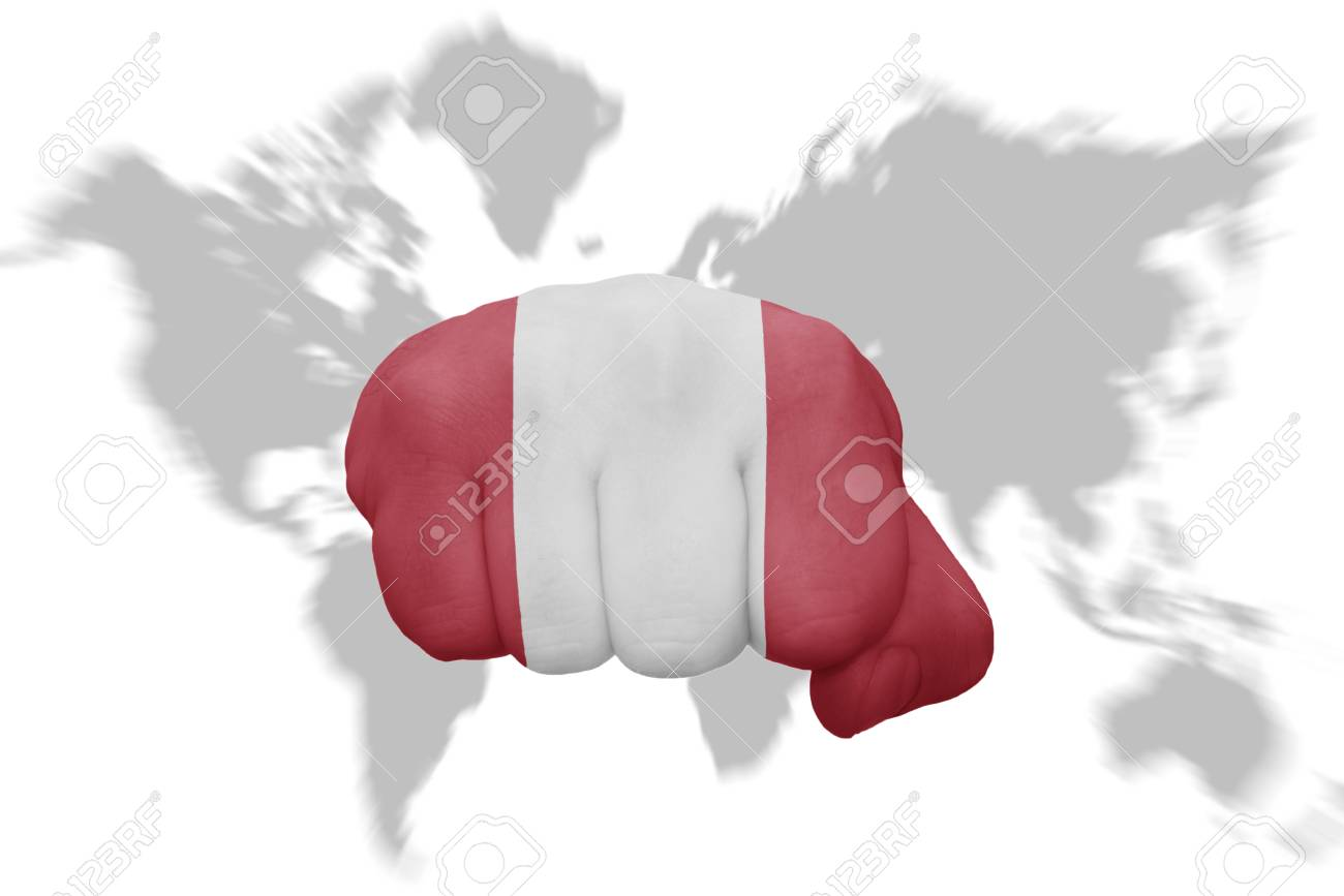 Fist with the national flag of peru on a world map background fotos fist with the national flag of peru on a world map background foto de archivo gumiabroncs Image collections