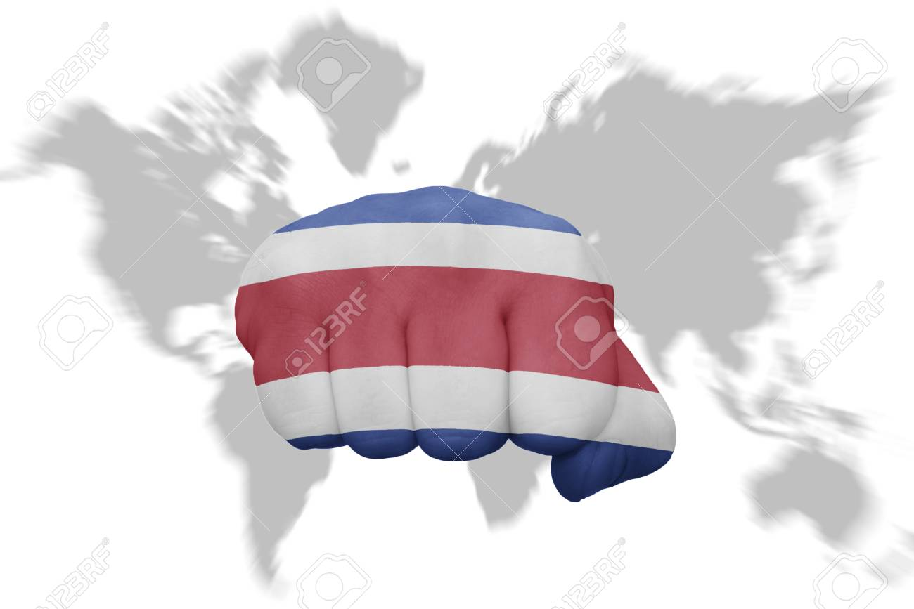 Fist with the national flag of costa rica on a world map background fist with the national flag of costa rica on a world map background stock photo gumiabroncs Gallery