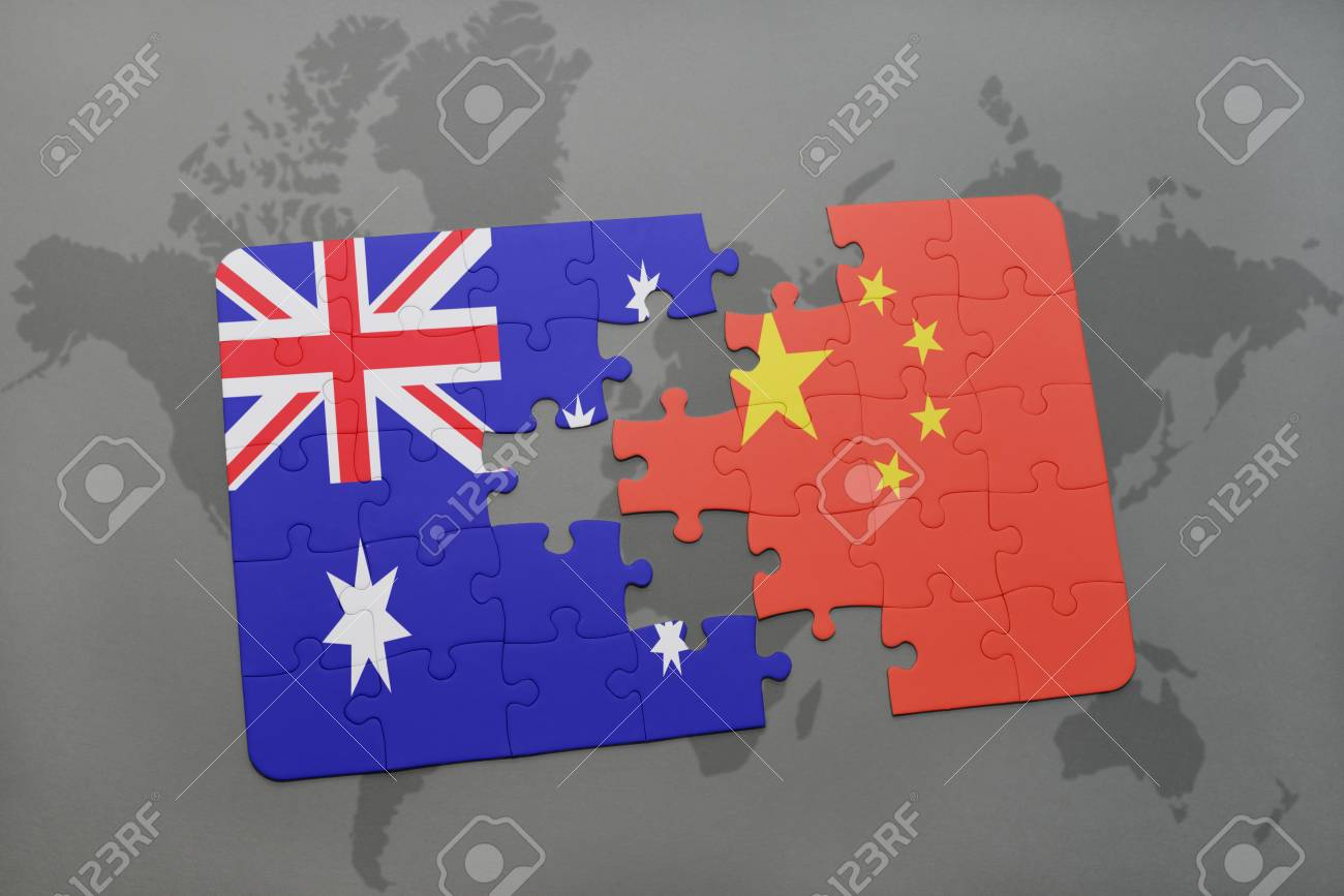 Puzzle with the national flag of australia and china on a world illustration puzzle with the national flag of australia and china on a world map background3d illustration gumiabroncs Gallery