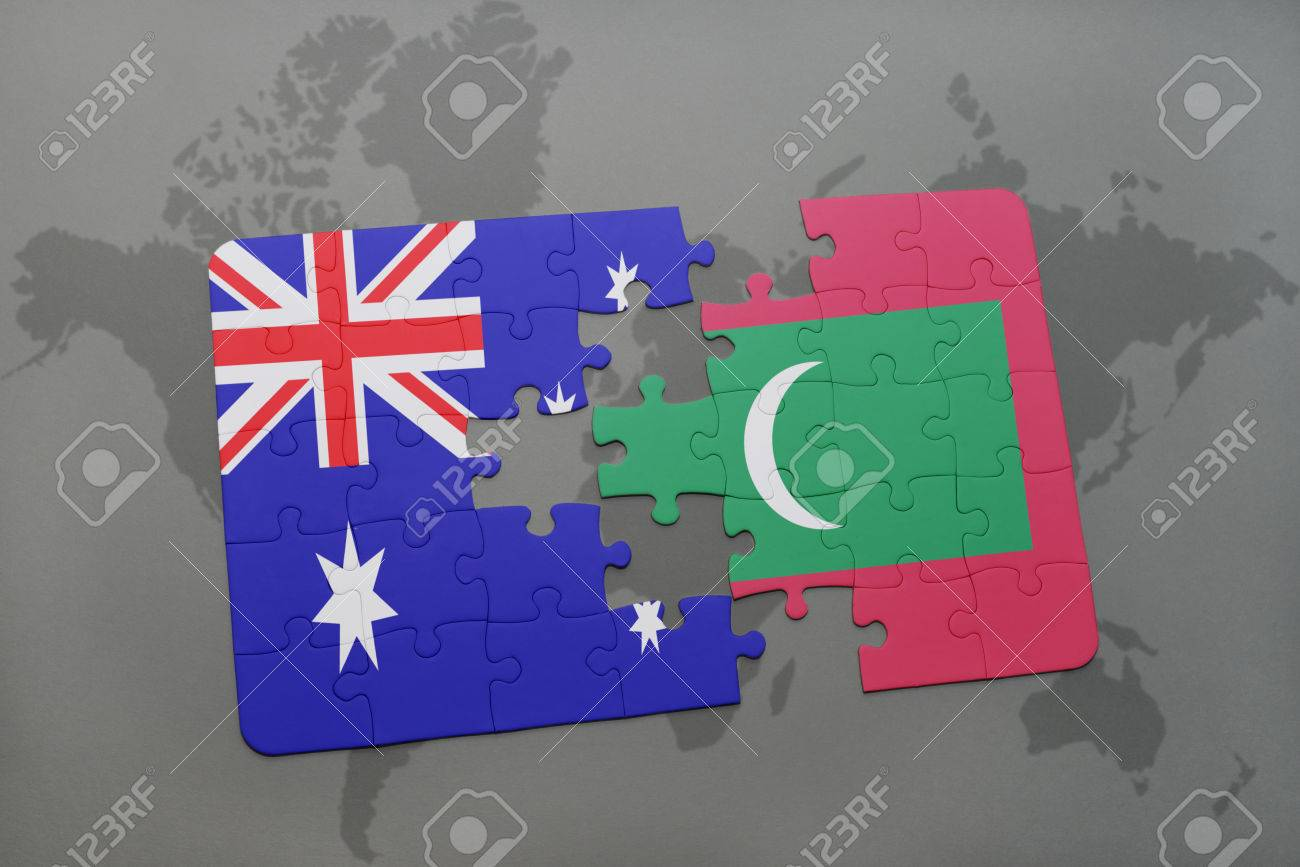 Puzzle With The National Flag Of Australia And Maldives On A.. Stock ...