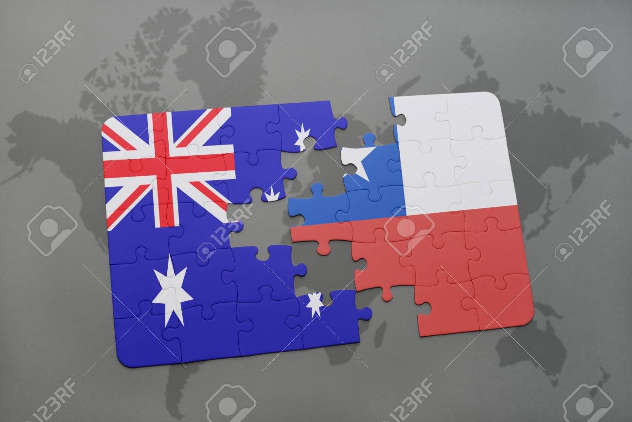 Puzzle with the national flag of australia and chile on a world illustration puzzle with the national flag of australia and chile on a world map background3d illustration gumiabroncs Gallery