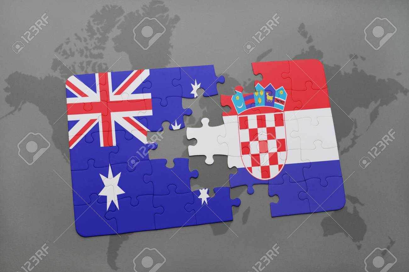 Map Of Australia Jigsaw Puzzle.Puzzle With The National Flag Of Australia And Croatia On A World
