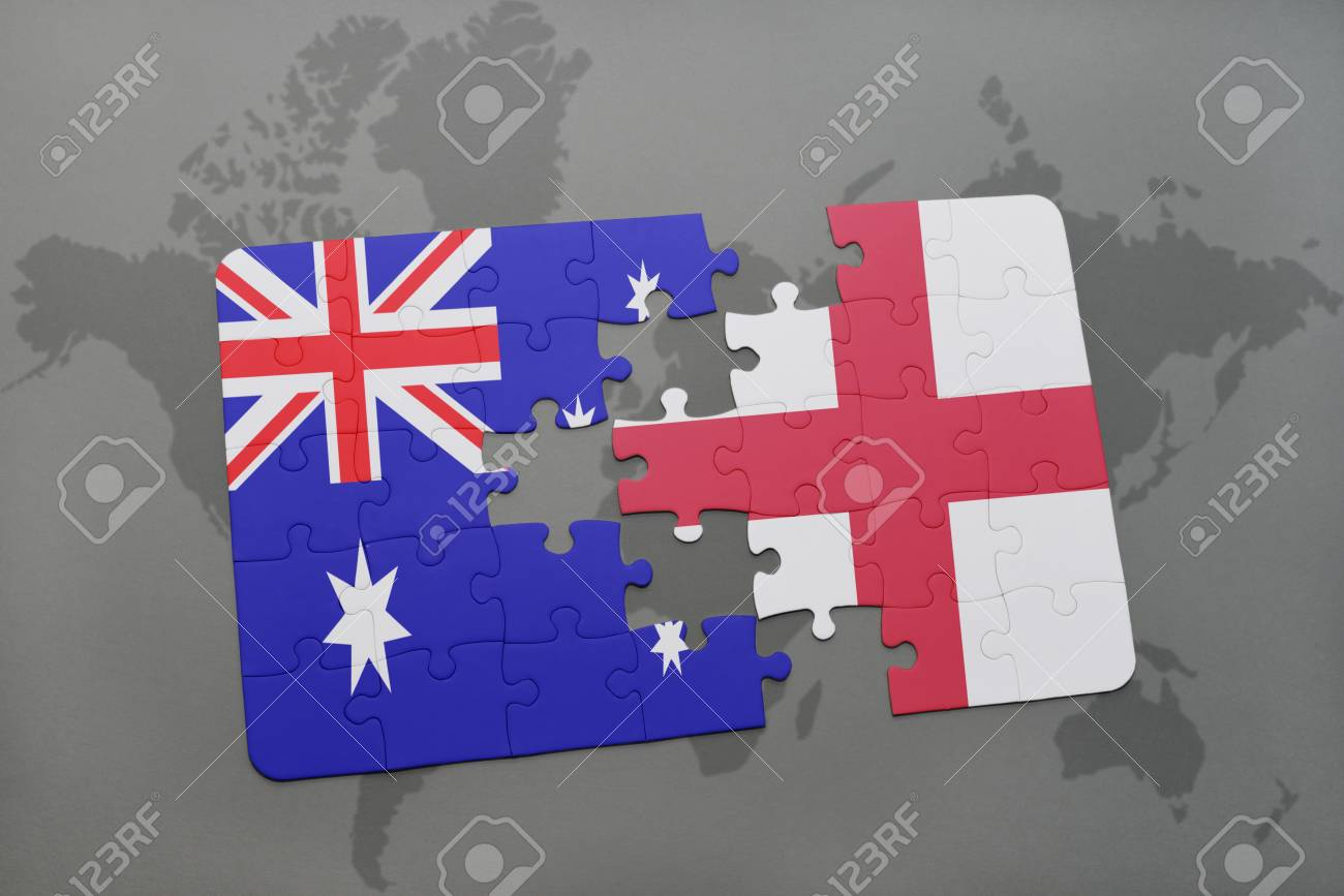 England To Australia Map.Puzzle With The National Flag Of Australia And England On A World