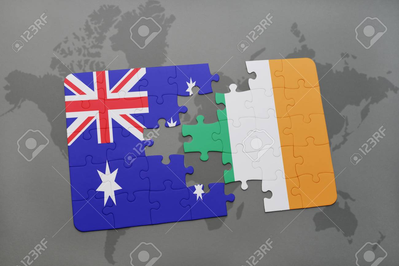Australia Map Jigsaw.Puzzle With The National Flag Of Australia And Ireland On A World