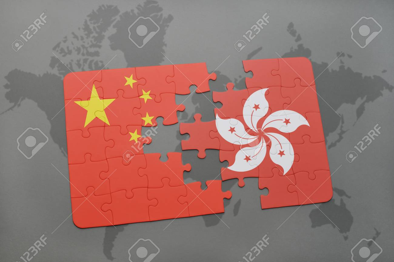 Puzzle with the national flag of china and hong kong on a world illustration puzzle with the national flag of china and hong kong on a world map background 3d illustration gumiabroncs Images