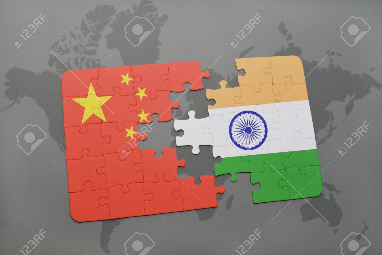 China Map Puzzle.Puzzle With The National Flag Of China And India On A World Map