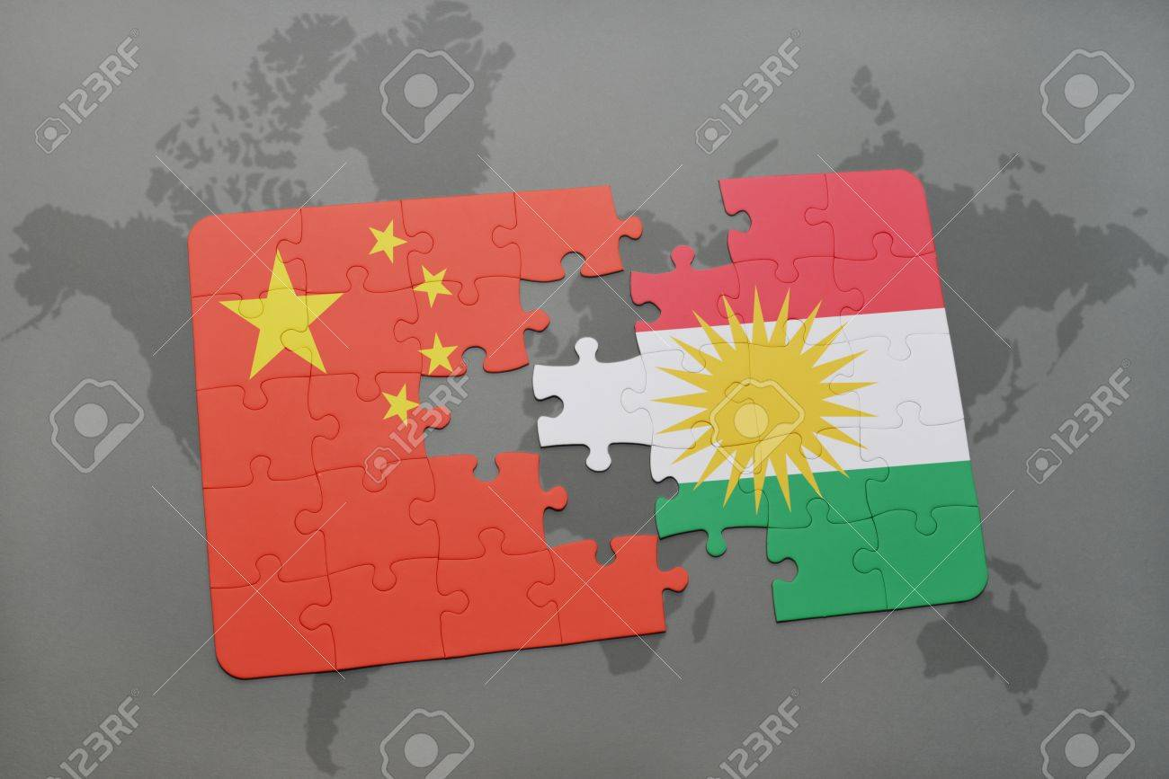 puzzle with the national flag of china and kurdistan on a world
