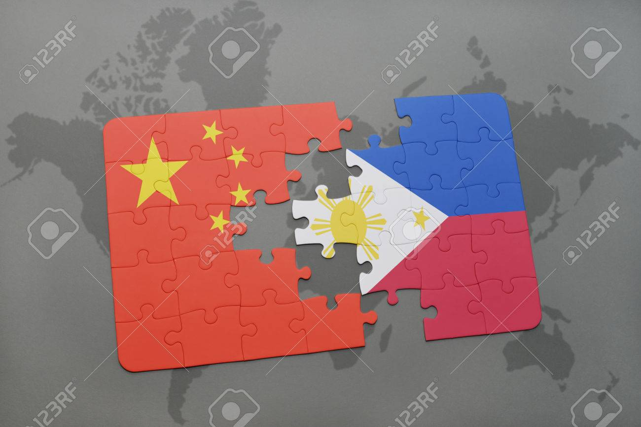 Puzzle with the national flag of china and philippines on a world puzzle with the national flag of china and philippines on a world map background 3d gumiabroncs Image collections