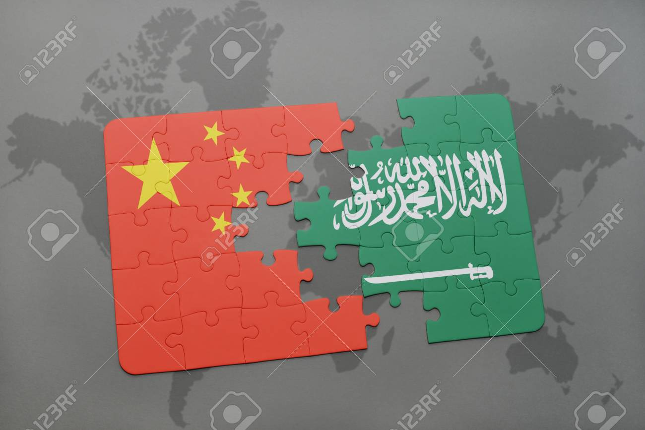 Puzzle With The National Flag Of China And Saudi Arabia On A.. Stock ...