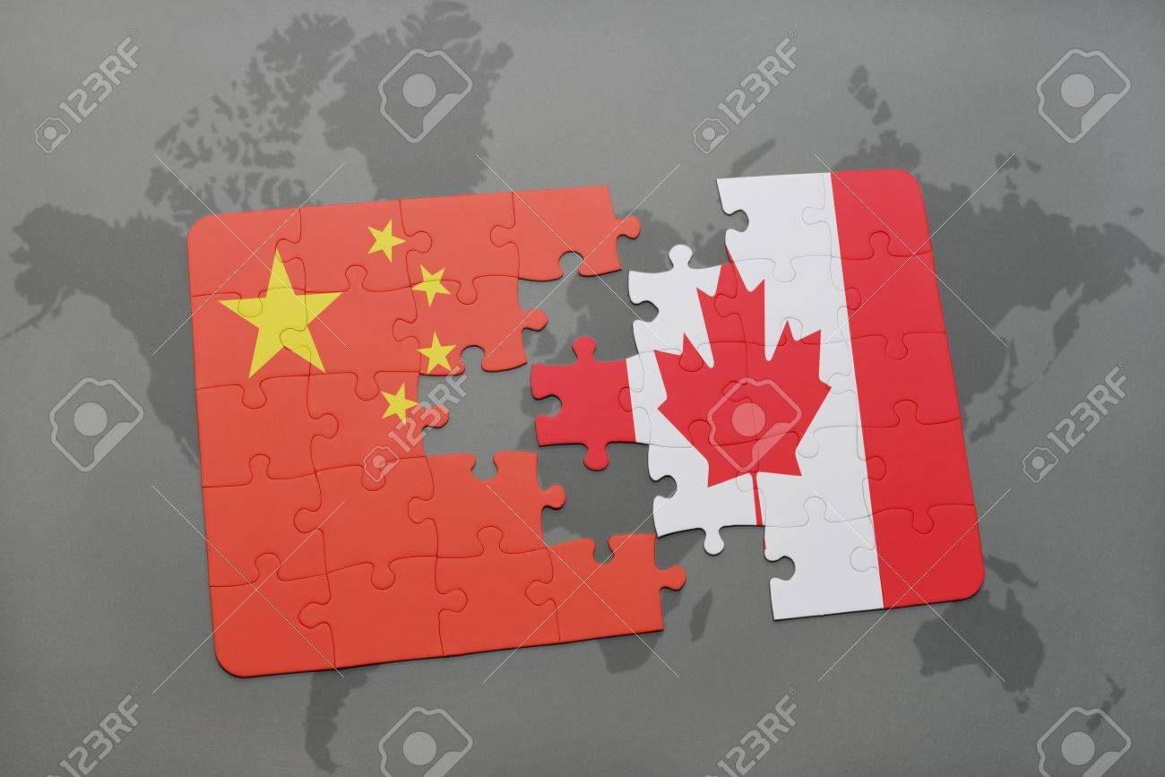 Puzzle with the national flag of china and canada on a world stock illustration puzzle with the national flag of china and canada on a world map background 3d illustration gumiabroncs Image collections