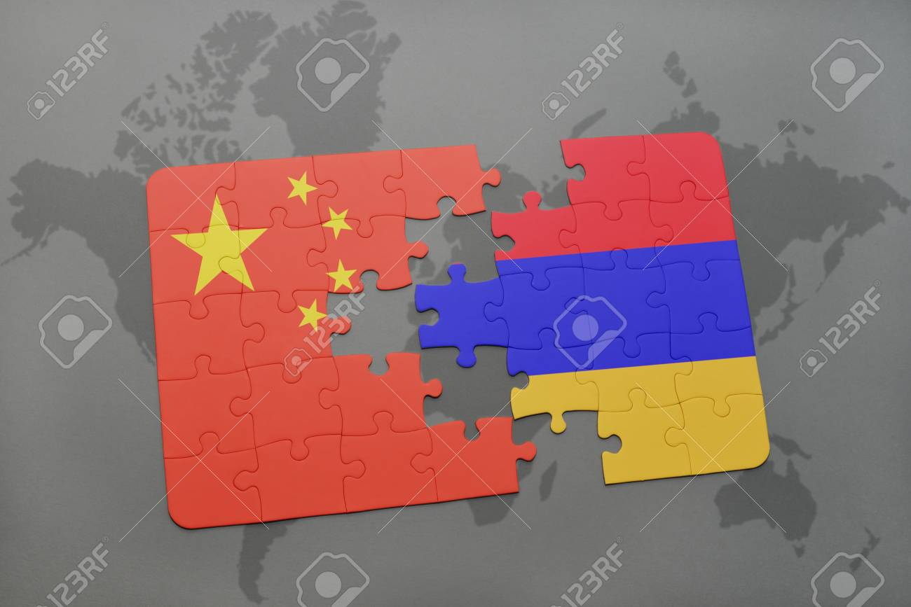 China Map Puzzle.Puzzle With The National Flag Of China And Armenia On A World