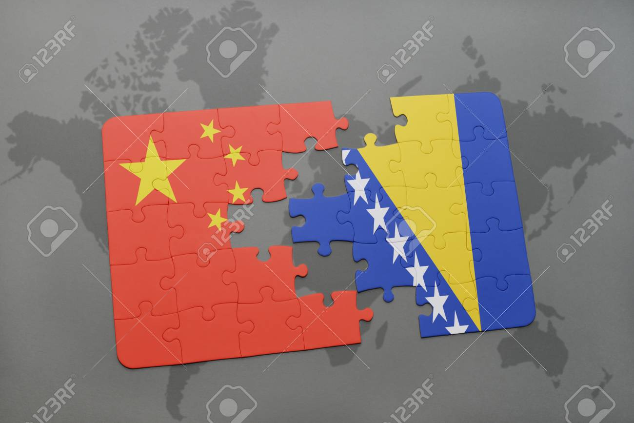 China Map Puzzle.Puzzle With The National Flag Of China And Bosnia And Herzegovina