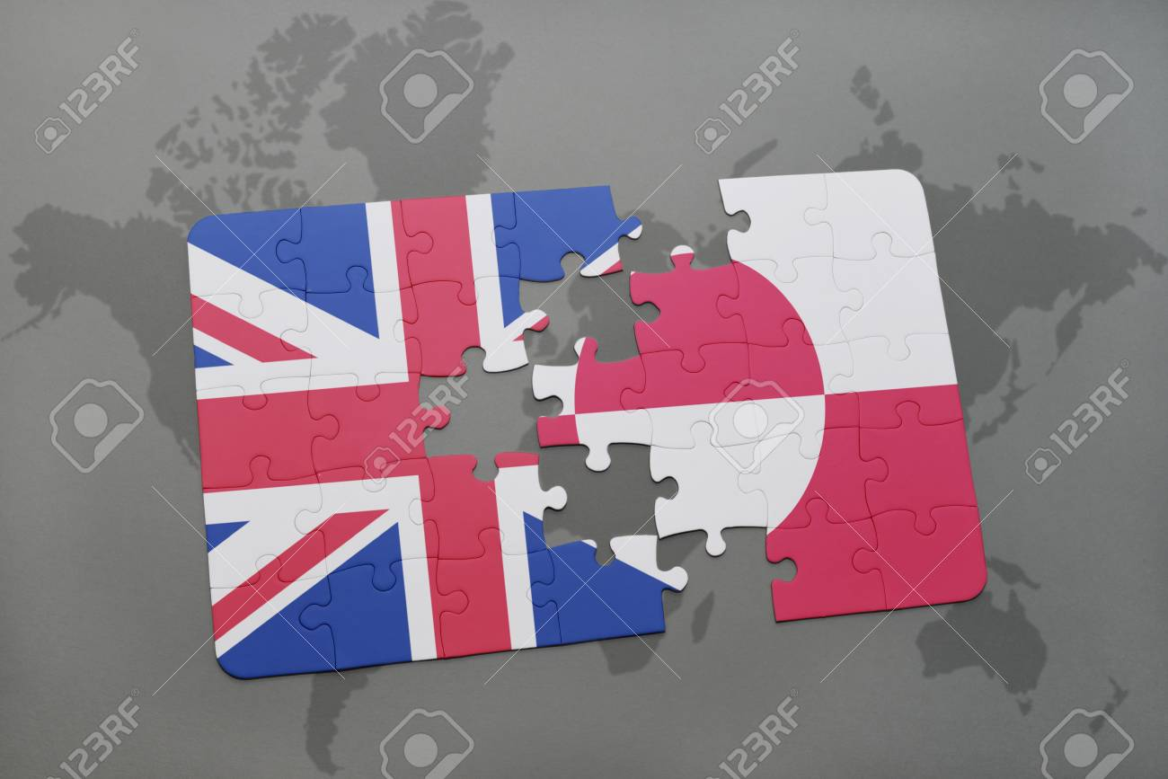 Puzzle With The National Flag Of Great Britain And Greenland Stock