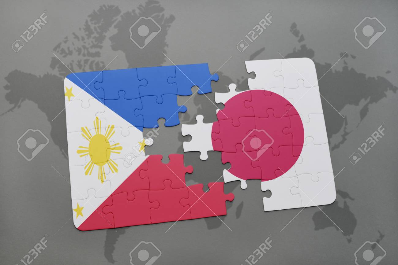 Puzzle with the national flag of philippines and japan on a world illustration puzzle with the national flag of philippines and japan on a world map background 3d illustration gumiabroncs Choice Image