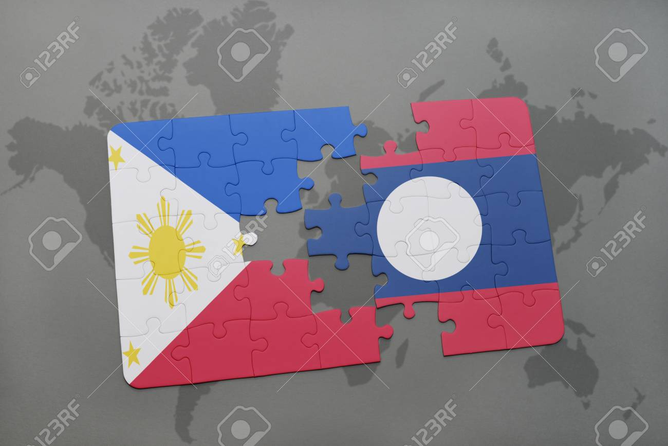 Puzzle With The National Flag Of Philippines And Laos On A World ...