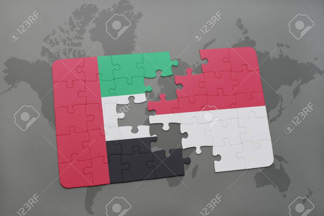 Puzzle with the national flag of united arab emirates and indonesia illustration puzzle with the national flag of united arab emirates and indonesia india on a world map background 3d illustration gumiabroncs Choice Image