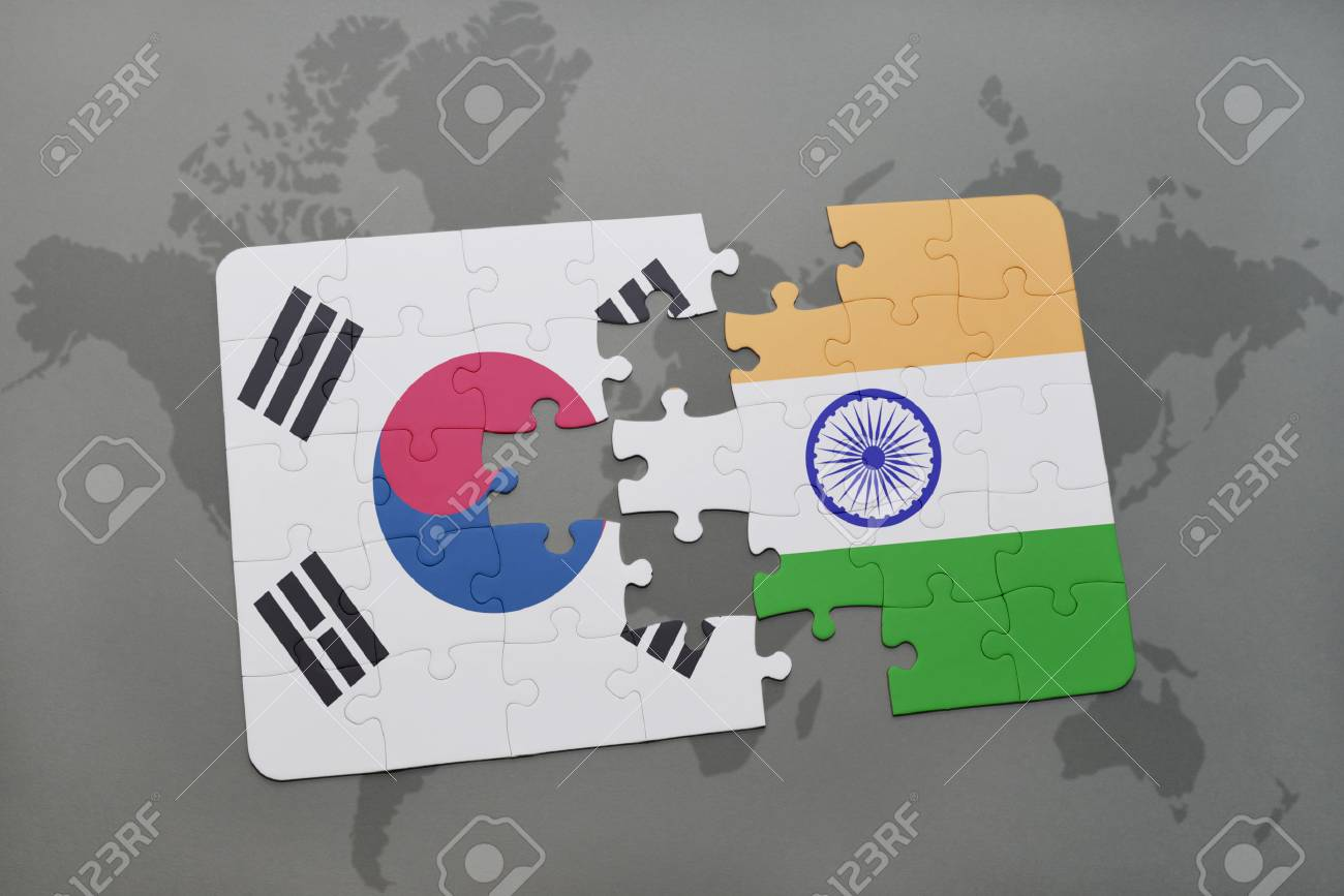 Puzzle with the national flag of south korea and india on a world illustration puzzle with the national flag of south korea and india on a world map background 3d illustration gumiabroncs Choice Image