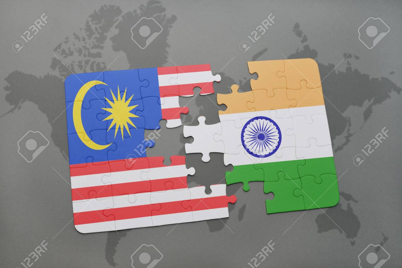 Puzzle with the national flag of malaysia and india on a world illustration puzzle with the national flag of malaysia and india on a world map background 3d illustration gumiabroncs Images