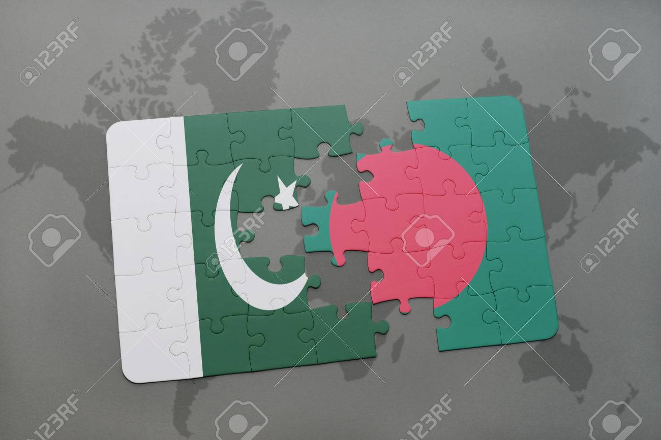 Puzzle With The National Flag Of Pakistan And Bangladesh On A