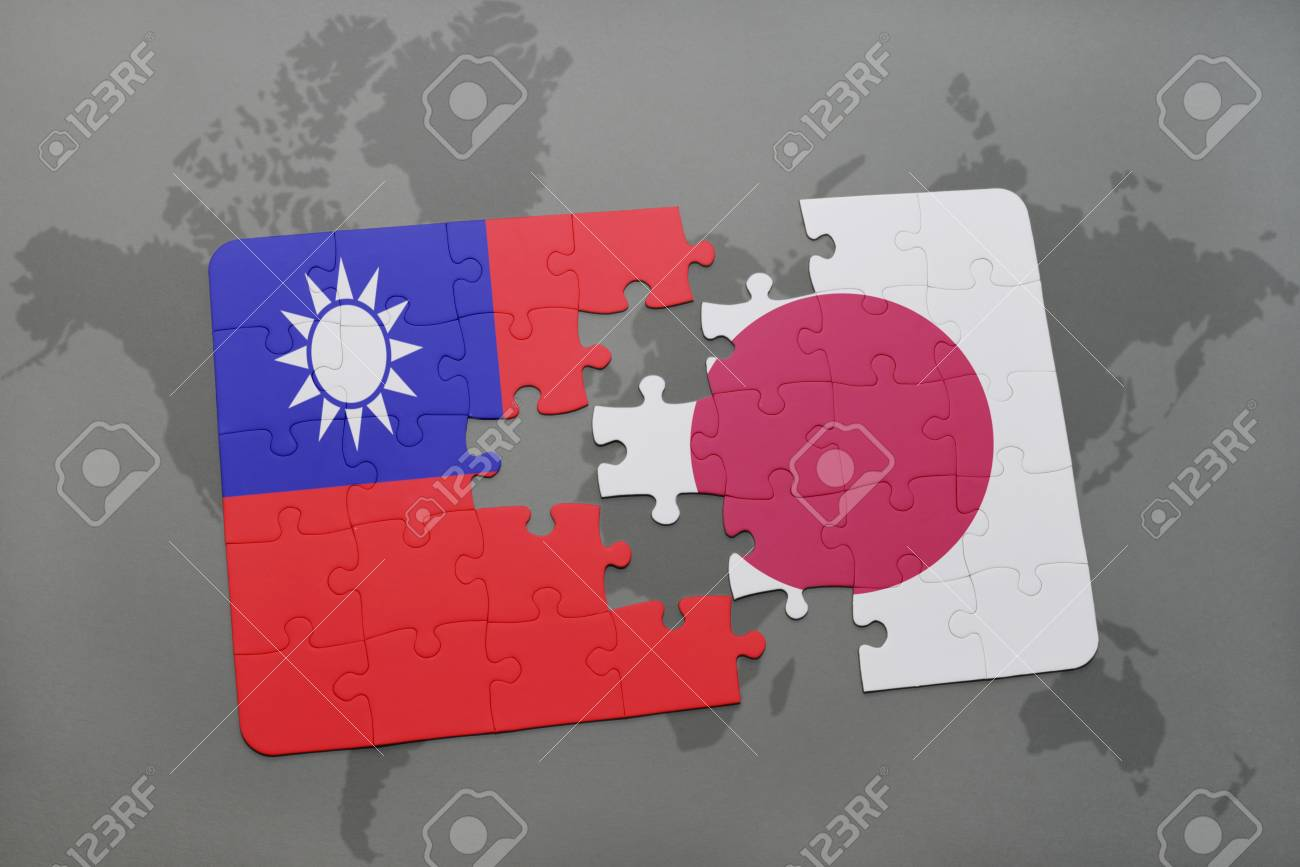 Puzzle with the national flag of taiwan and japan on a world stock illustration puzzle with the national flag of taiwan and japan on a world map background 3d illustration gumiabroncs Gallery