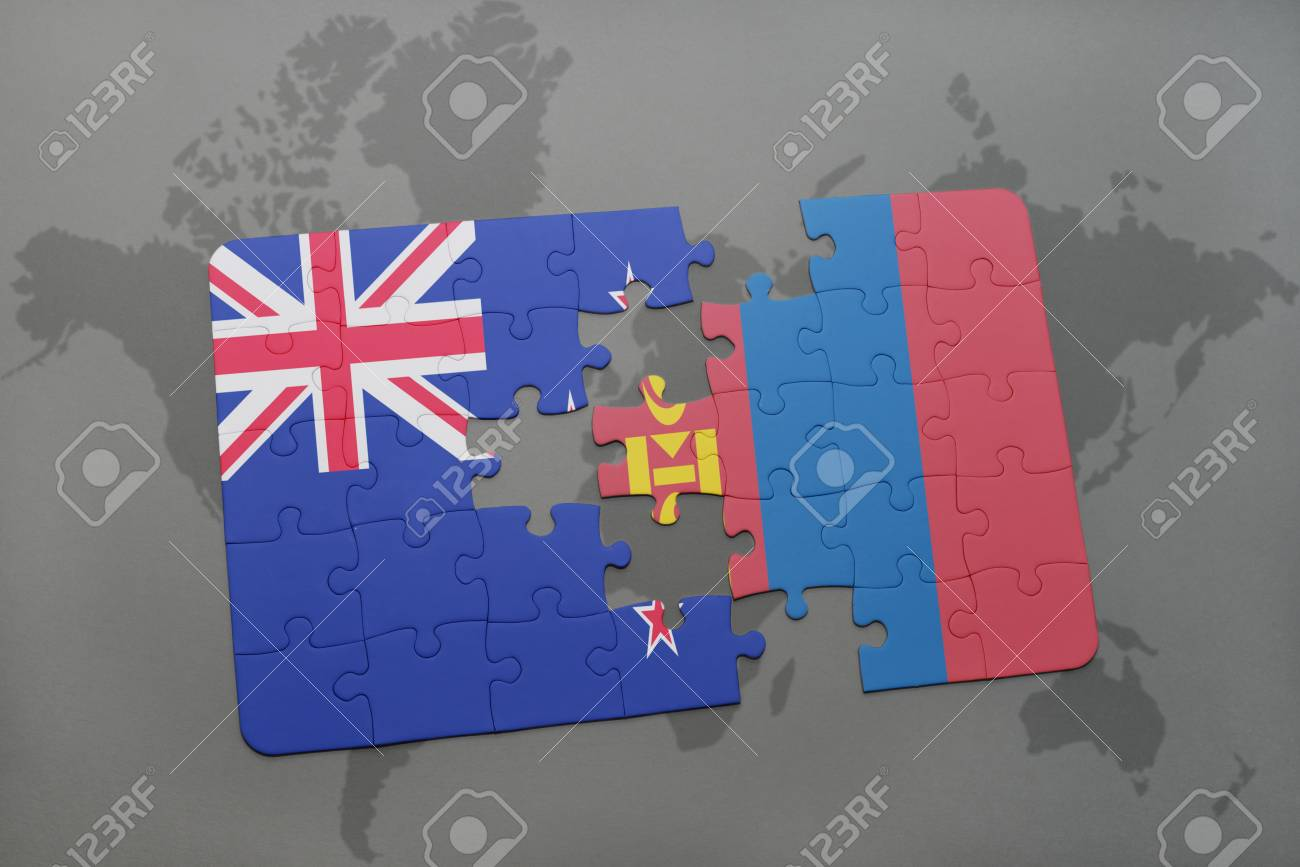 Puzzle with the national flag of new zealand and mongolia on a world puzzle with the national flag of new zealand and mongolia on a world map background gumiabroncs