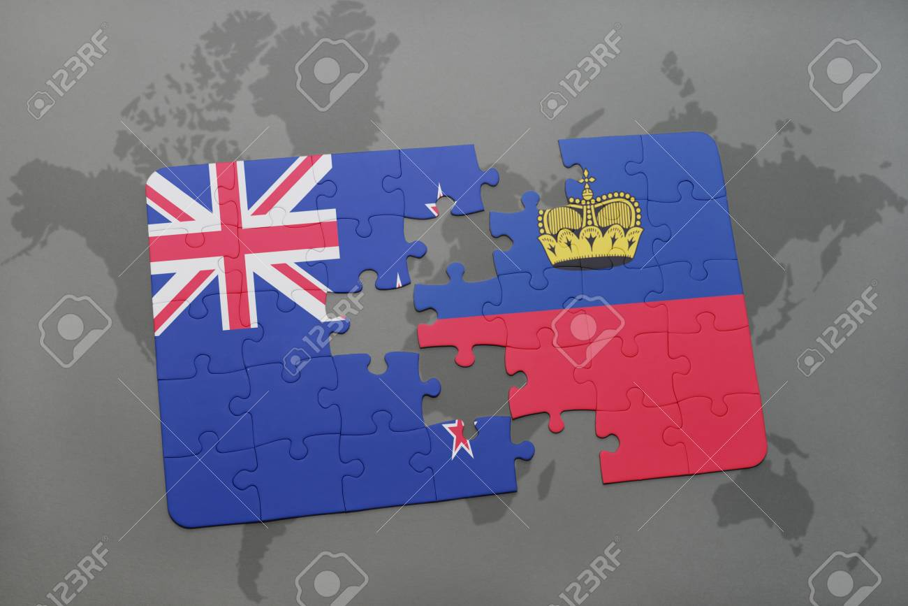 Puzzle with the national flag of new zealand and liechtenstein illustration puzzle with the national flag of new zealand and liechtenstein on a world map background 3d illustration gumiabroncs Image collections