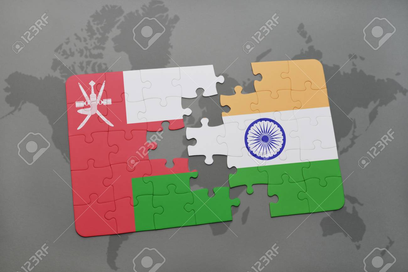 Puzzle with the national flag of oman and india on a world map illustration puzzle with the national flag of oman and india on a world map background 3d illustration publicscrutiny Image collections