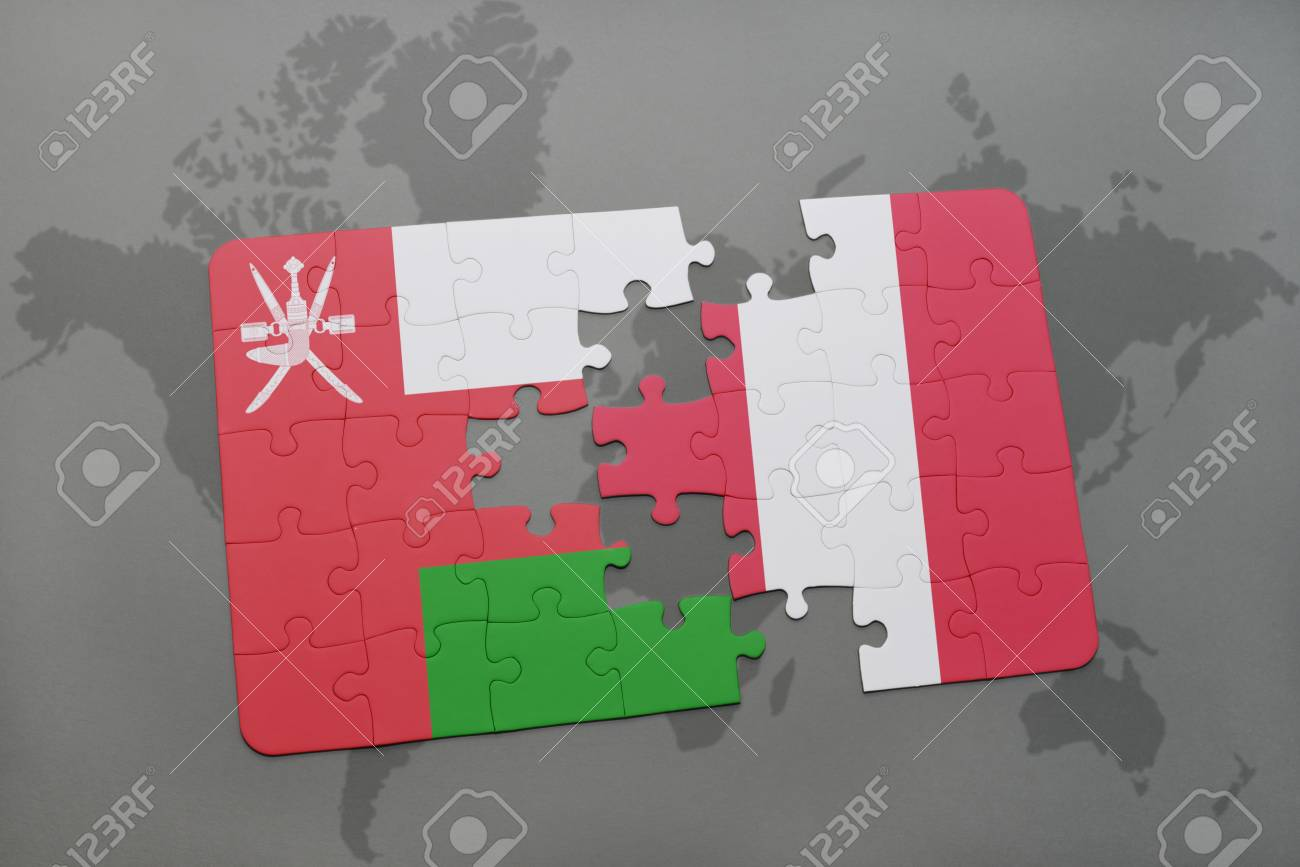 Puzzle With The National Flag Of Oman And Peru On A World Map ...